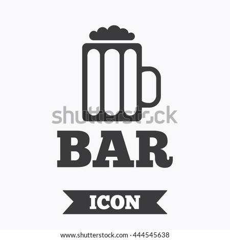 Bar or Pub sign icon. Glass of beer symbol. Alcohol drink symbol. Graphic design element. Flat beer symbol on white background. Vector
