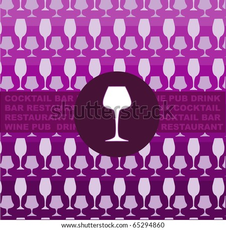 bar or restaurant menu template. glass on pink glasses pink template - stock vector