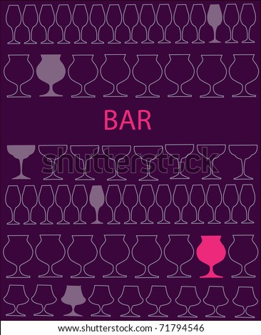 bar or restaurant menu template. glass on purple and pink glasses template - stock vector