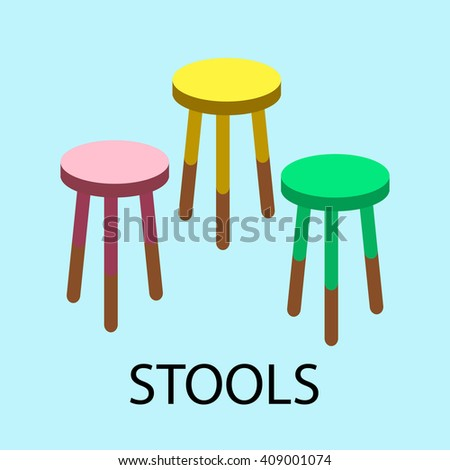 Bar stools, chair colorful - stock vector