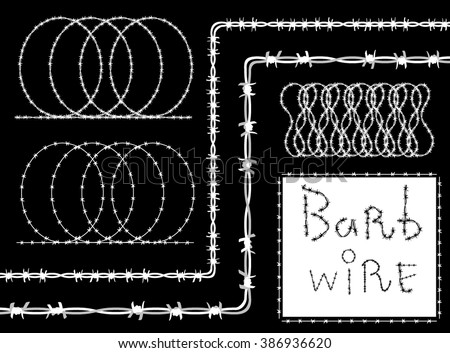Barb wire (barbed wire) border set - white silhouette on black background, vector. Barbed wire brush pattern. Vector fence illustration isolated on black. Protection concept design - stock vector
