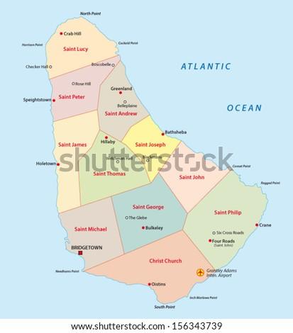 Barbados Administrative Map Stock Vector 156343739 Shutterstock
