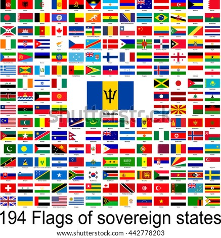 Barbados, collection of vector images of flags of the world