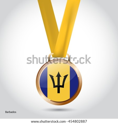 Barbados Flag in Bronze Medal. Olympic Game Bronze Medal. Vector Illustration
