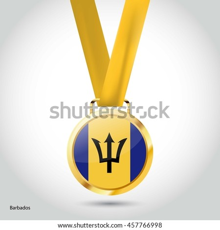 Barbados Flag in gold Medal. Vector Illustration. RIO Olympic Game gold Medal. Vector Illustration