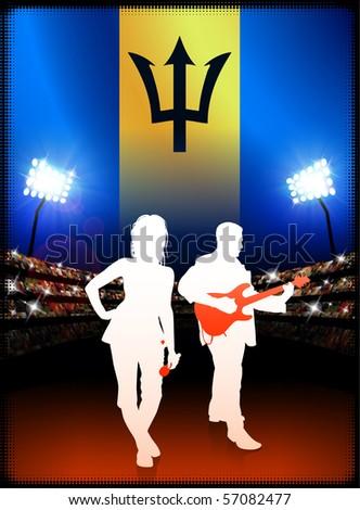 Barbados Flag with Live Music Band on Stadium Background Original Illustration - stock vector