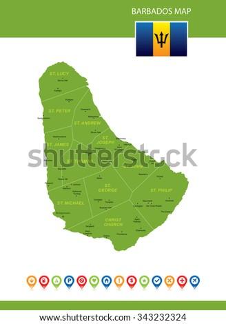 Barbados Map - stock vector