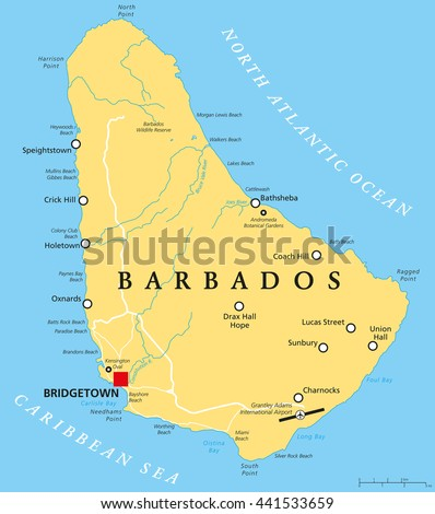 Barbados political map capital bridgetown important stock vector barbados political map with capital bridgetown with important cities places and rivers english publicscrutiny Choice Image