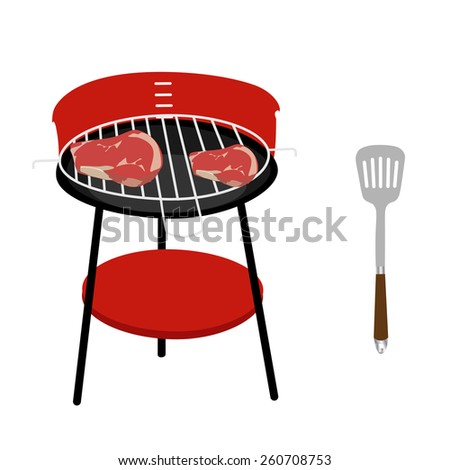 Barbeceu grill with two steaks and spatula vector icon set isolated, barbeque family, barbeque party