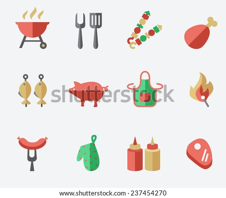 Barbecue and grill icon set, flat design - stock vector