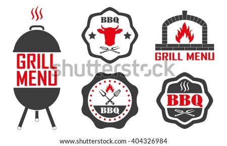 Barbecue and grill labels set. BBQ emblems and badges collection. Restaurant menu design elements. Vector illustration. - stock vector