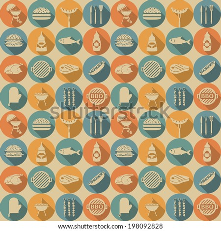Barbecue and picnic seamless pattern. Vector illustration, EPS 8. - stock vector