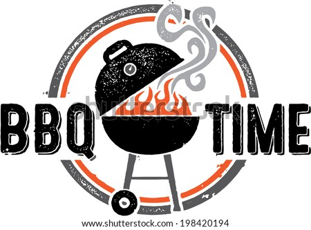 Barbecue BBQ Time Vintage Graphic - stock vector