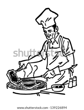 Barbecue Chef - Retro Clip Art Illustration - stock vector