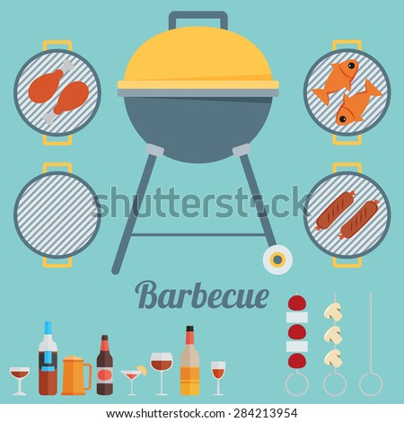 Barbecue. Flat style design - vector - stock vector
