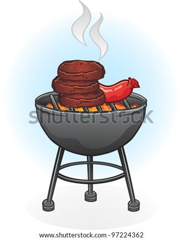 Barbecue Grill Cartoon Illustration - stock vector