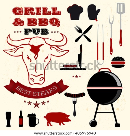 Barbecue grill elements collection - vector illustration - stock vector