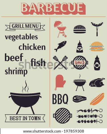 Barbecue grill elements. Grill menu. BBQ icons. Vector set, EPS 8. - stock vector