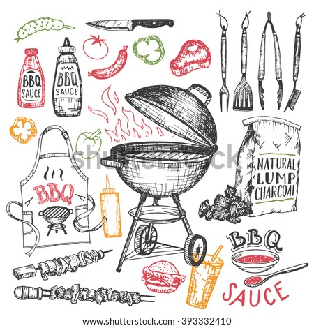 Barbecue grill hand drawn elements set isolated on white background. Cookout BBQ party. Sketch of barbecue charcoal kettle grill with tools and foods