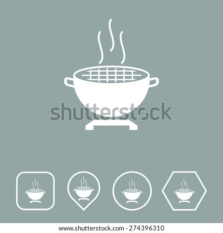 Barbecue Grill Icon on Flat UI Colors with Different Shapes. Eps-10. - stock vector