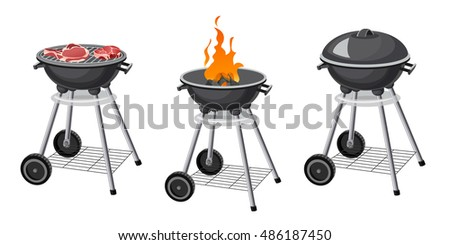 Barbecue grill. Picnic cooking Barbecue device. 3d isometric.