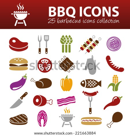 barbecue icons - stock vector