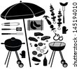 Barbecue icons vector set. BBQ illustrations collection of silhouette isolated on white background. . - stock vector