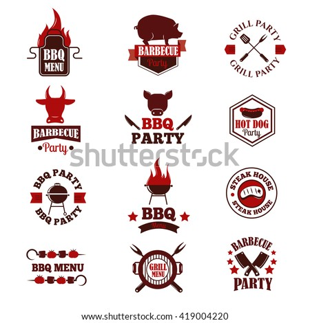Barbecue logo and grill labels, badges, logos and emblems. Set of BBQ logo vector templates isolated on white background. Steak house restaurant menu BBQ logo design elements. BBQ logo design. - stock vector