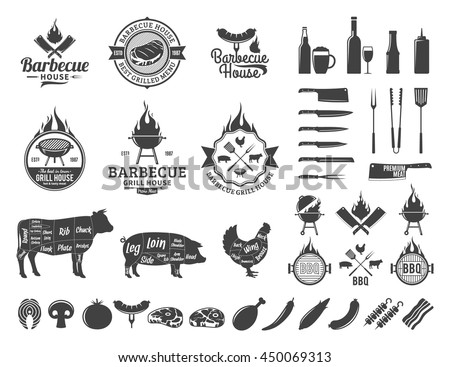 Barbecue logo and labels. BBQ, meat, vegetables, beer, wine and equipment icons for cafe, bar and restaurant menu, branding and identity.