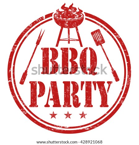 Barbecue party grunge rubber stamp on white background, vector illustration - stock vector