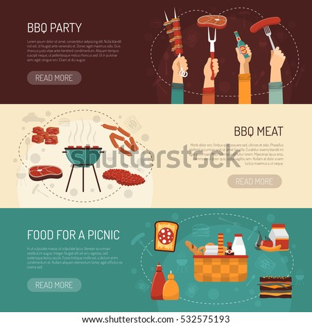 Barbecue party horizontal banners with food kit for picnic and grilled meat assortment flat vector illustration