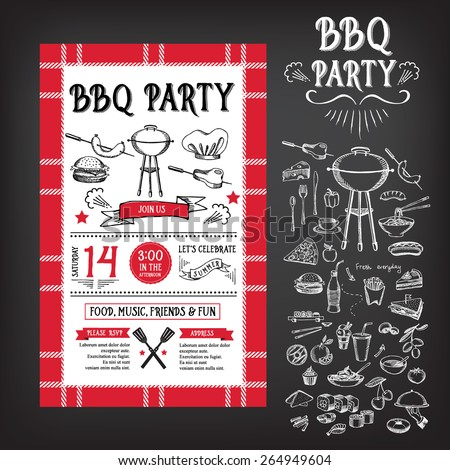 Barbecue party invitation bbq template menu stock vector for Bbq ticket template free