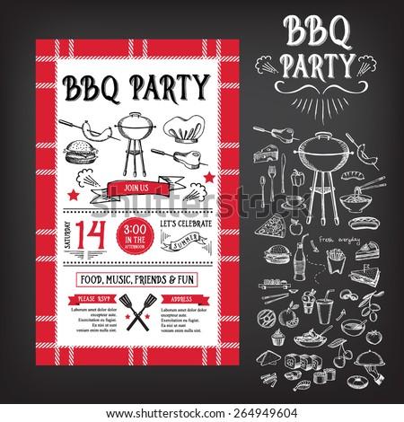 Barbecue party invitation. BBQ template menu design. Food flyer. - stock vector