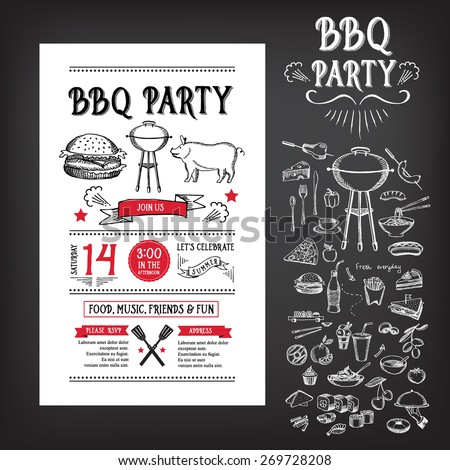 Barbecue Party Invitation Bbq Template Menu Vector 275039462 – Party Invitation Flyer