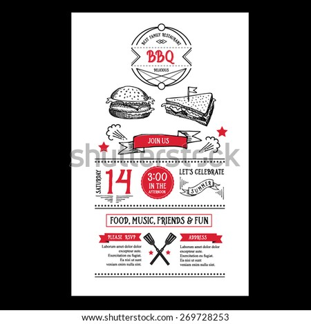 bbq party invitation stock images royalty free images vectors shutterstock. Black Bedroom Furniture Sets. Home Design Ideas