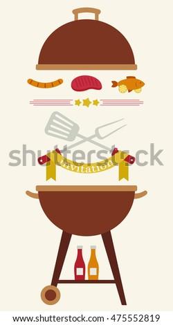 barbecue party invitation flyercardinvitation template vector stock
