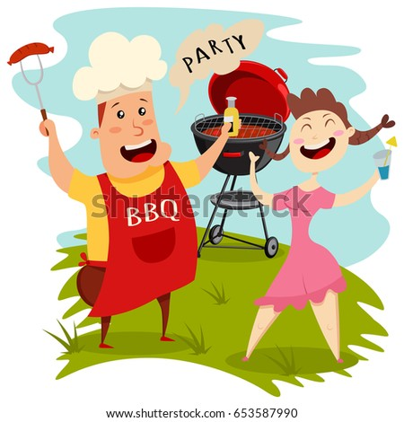 Barbecue Party Stock Images RoyaltyFree Images Vectors - Backyard bbq party cartoon