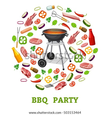 Barbecue party poster. 3d isometric. isolated on white background.