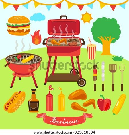 Summer Bbq Stock Images RoyaltyFree Images Vectors Shutterstock - Backyard bbq party cartoon