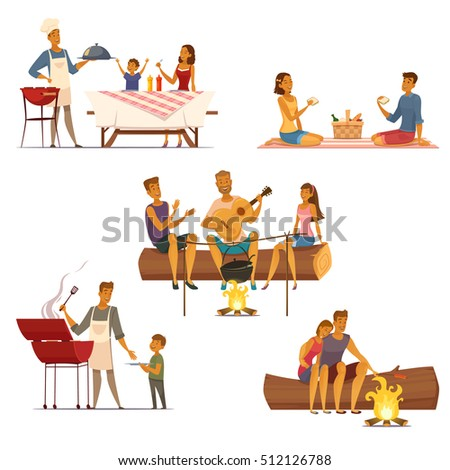 Barbecue picnic outdoor weekend with family and friends 5 retro cartoon compositions icons isolated vector illustration