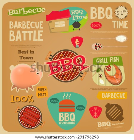 Barbecue Poster in Flat Design Style. BBQ Time. Vector Illustration. - stock vector