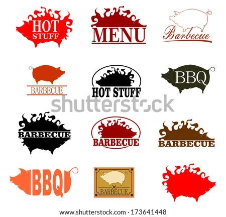 Barbecue rubber stamp set on a white background. Vector.  - stock vector
