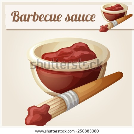 Barbecue sauce. Detailed Vector Icon. Series of food and drink and ingredients for cooking. - stock vector