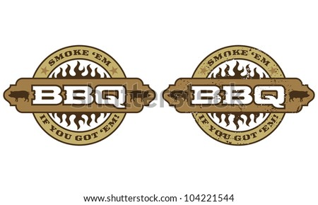 Barbecue Symbol. Includes clean and grunge versions. - stock vector