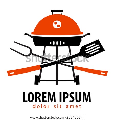 barbecue vector logo design template. brazier or grill icon. - stock vector