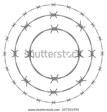 Barbed Wire Circles. Illustration on white background - stock vector