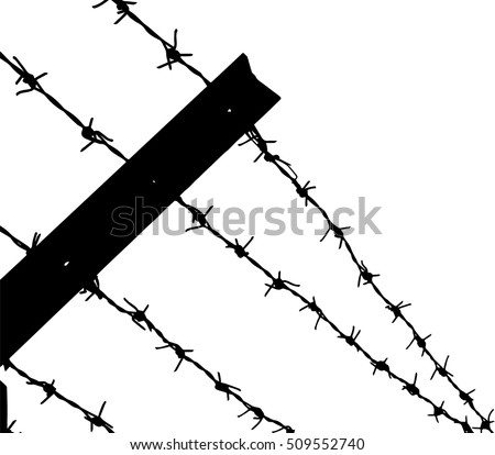 Barbed Wire Fence Black White Vector Stock Vector 509552740 ...