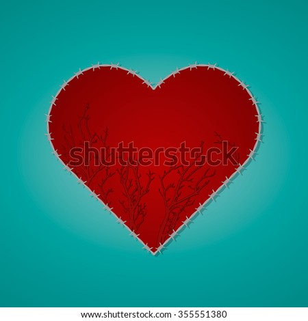 Barbed wire heart - stock vector