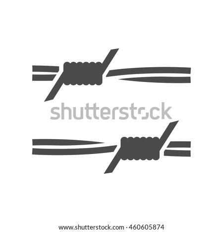 Barbed wire icons in single color. Protection war danger sharp - stock vector