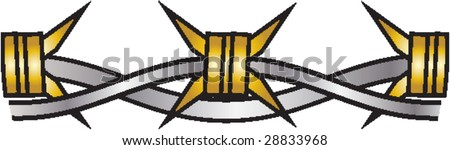 barbed wire illustration - stock vector